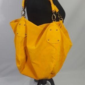 Handbags - Oversized faux suede handbag mustard color